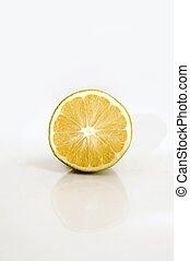 Half orange isolated over white