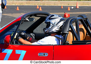 Driver in Autocross - Driver in sports car competing in...