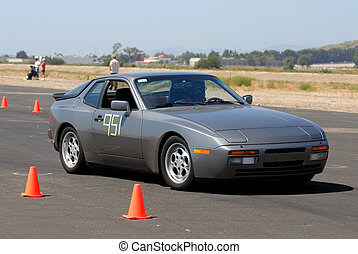 Porsche 944 at Autocross - Sports car competing in autocross...