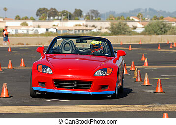 Honda 2000 - red japanese sports car competing in autocross...