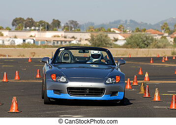 Grey Honda - Grey sports car competing in autocross race