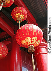 Chinese temple - Traditional chinese temple decorated with...