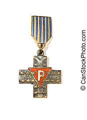 Medal cross - series object on white - sign Old medal