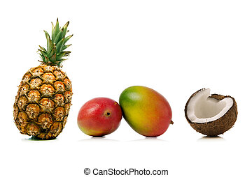 tropical fruits - pineapple mango and coconut isolated over...