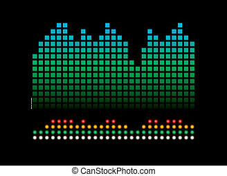 music readout - musical abstract background showing flashing...