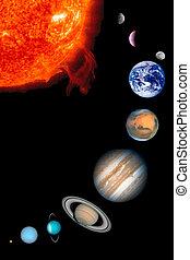 a, nove, planetas, sol