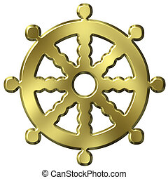 Buddhism Symbol - 3D Golden Buddhism Symbol Wheel of Life