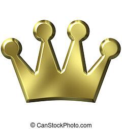 3D, dorado, corona