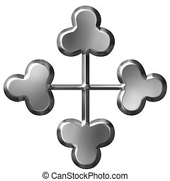 3D Silver Cross Ornament