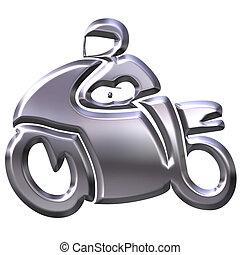 3D Silver Motorbike