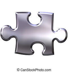3D Silver Puzzle Piece