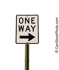 One Way - One way sign isolated on a white background