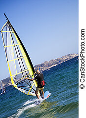 windsurfers - summer sports: windsurfers speeding fast