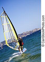 windsurfers - summer sports: windsurfers speeding fast