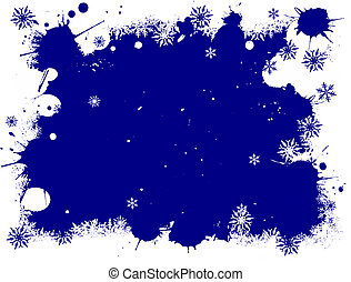 White and Blue SnowFlake Grunge