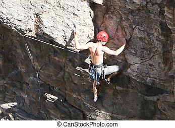escalando, extremo, rocha