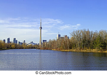 Toronto Skyline - A view of the CN Tower and the Toronto...