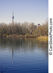 Toronto Skyline Reflectio - A view of the CN Tower and...