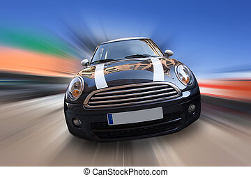 fast car - background: urban car with a motion blur