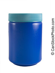 blue bottle - a close up on a blue bottle isolated on a...