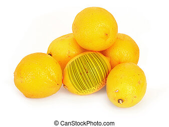 lemons with bar code - ripe lemons with abstract bar code,...