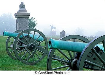 canhões, nevoeiro, Gettysburg