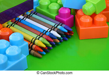 Neat Crayons - Crayons packed neatly between building blocks...
