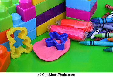Kiddie Mess - Various educational toys including clay and...