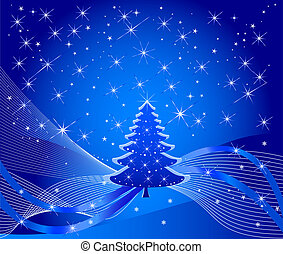 Christmas tree and winter background - illustration