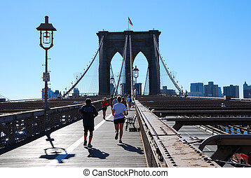 Brooklyn Bridge Joggers - Joggers getting in their exercise...