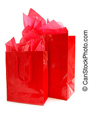 Red shopping bags - Two red shopping bags isolated on white...