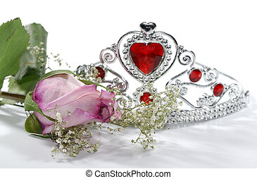Pageant - Photo of a Pink Rose and Tiara Crown - Beauty...