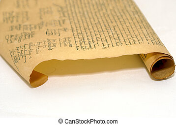 rolled parchment - partilly rolled up copy of the...