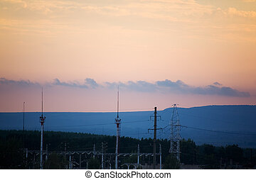 In the twilight - view of transmission equipment in the...