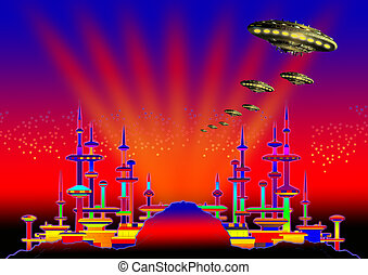 Alien city 01 - ufo at night over the alien city.