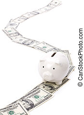 Piggy Bank and dollars, concept of road for success