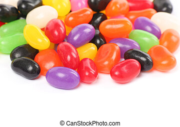 jellybeans - Colorful jellybeans close up shot with white...