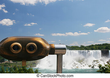 Niagara Falls - View finder at Niagara Falls, Canada -...