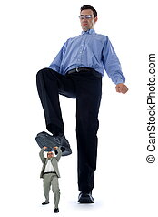 Business situation - Big businessman stepping on a small but...