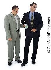 hombre de negocios, o, político, toma, soborno