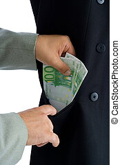 Bribe - Hands putting several hundred euros into a pocket