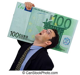 Big money - Happy businessman carrying a big hundred euro