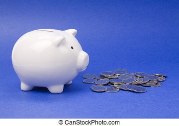 Piggy Bank with blue background