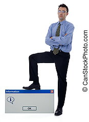 Information dialog - Businessman holding his foot on a big...