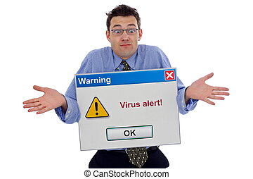 Virus alert - Confused man about a virus alert big computer...