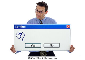Confirm dialog box - Happy man showing a confirmation dialog...