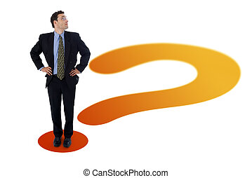 Businessman on question mark - Businessman standing on the...
