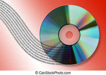 Data flow - Digital information flow from compact disk (High...