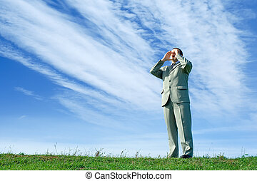 Shouting loud - Businessman in the nature, shouting loud,...