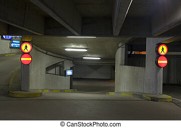 Undeground parking - Empty underground parking, way to the...